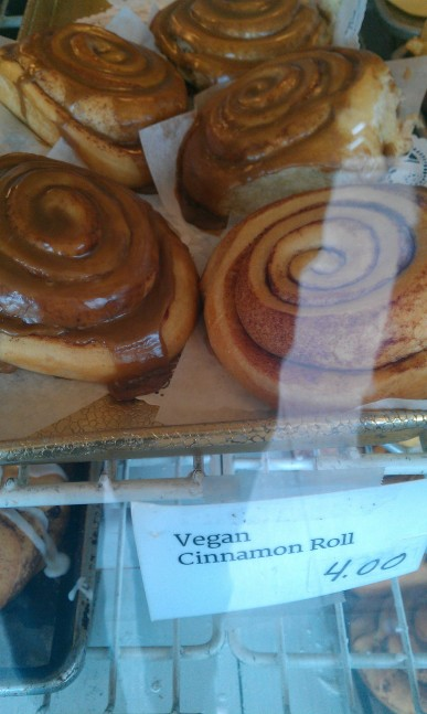 The reason I wanted to go to the market was because of the amazing vegan cinnamon rolls!  These are huge!